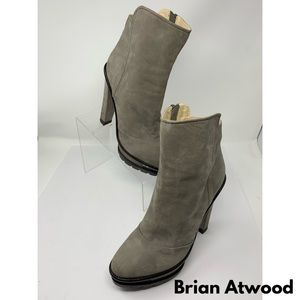 Brian Atwood Gray Leather High Heeled Booties